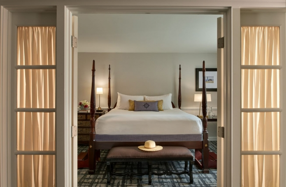 A view to the bedroom in a Bellevue Suite.