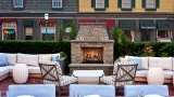 One Bellevue patio with fireplace